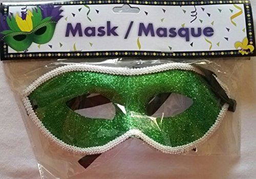 Green Glitter Mardi Gras With White Trim