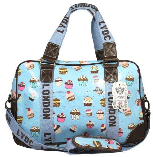 Cupcake Design Large Weekend Bag in Baby Blue