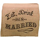 Lillian Rose Eat, Drink and Be Married Burlap Table Runner, 84-Inch by 10-Inch