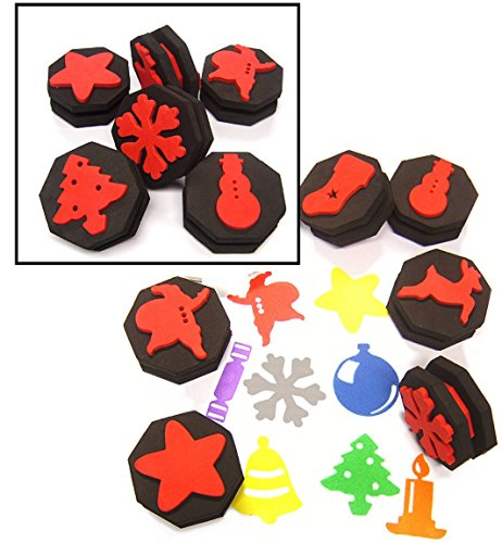 6-double-sided-rigid-foam-stampers-12-christmas-shapes-xmas-crafts-card-making