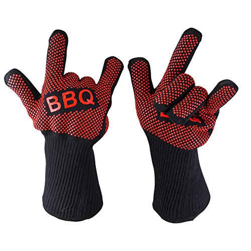 WARES360®Grilling Gloves For Cooking,Grilling, Baking-Heat Resistant Gloves -Oven Mitts All In One- Set of 2 (Extra Long) - 14