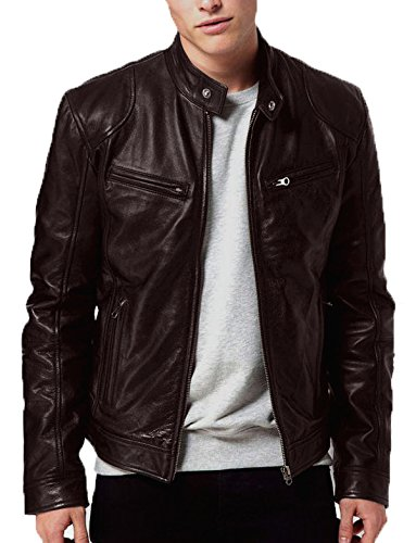Gordania Mens Faux Leather Jacket (Gd274Br _Brown _Medium)