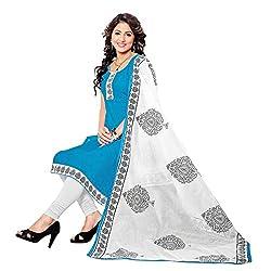 ZHot Fashion Women's Unstitched Salwar Suit Material In Cotton Fabric (RHRN1006B) Blue
