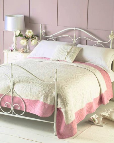 PINK & IVORY COUNTRY COTTAGE STYLE BEDSPREAD THROW DOUBLE/KING