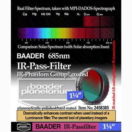 Baader Planetarium IR Pass Telescope Filter 1.25″ (685nm) FIRP-1