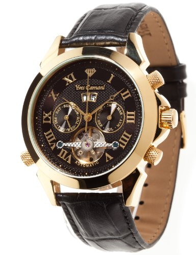 Yves Camani Navigator Men's Automatic Watch with Black Dial Analogue Display and Black Leather Strap YC1020-B