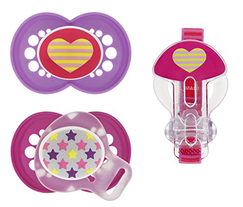 MAM Trends Orthodontic Pacifier with Clip Value Pack, Girl, 6+ Months, 2-Count (Pacifier Pack compare prices)