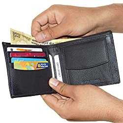Black Unisex Leather Wallets with 4 Credit Card Holder