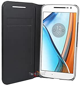 CareFone Premium PU Leather Flip Cover with Card & Currency Wallet Cut for Moto G4