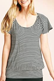 Short Sleeve Stripe Print Jersey Top [T43-8171-S]