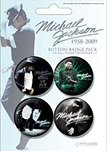 Jackson, Michael - Blue - 4 Stück Big-Buttons Badge pack Musik - Grösse Ø3,8 cm