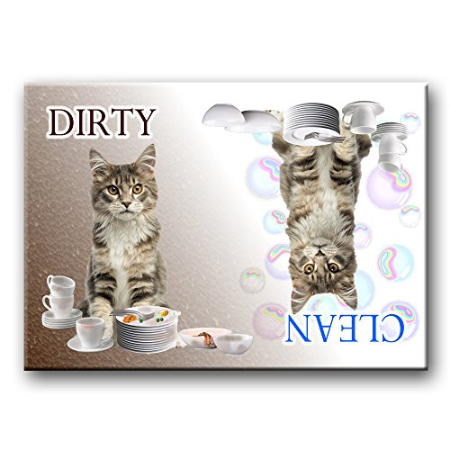 Maine Coon Cat Clean / Dirty Dishwasher Magnet No 4 (Dishwasher Magnet Cat compare prices)