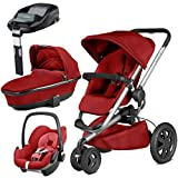Quinny Buzz Xtra Red Rumour with Carrycot and Pebble with Familyfix Base