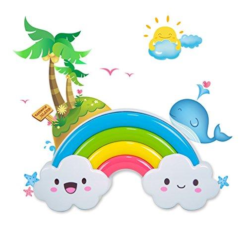 IMINOVO Rainbow LED Night Light Lamp 2 Control Mode by Sound Sensor and Optical Sensor- Sleep Soother & Comforter Sleep Light with Wall Sticker for Baby, Kids & Children, 4 Pcs AA Battery Powered.