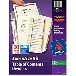Avery Executive Index Dividers, 1-10 Tab, 8-1/2\