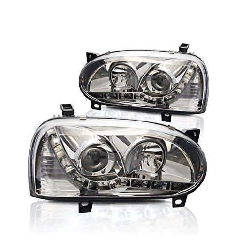 Starr Lite 93-98 Volkswagen Golf 3 Drl & Projector Head Lights - (Chrome / Clear )