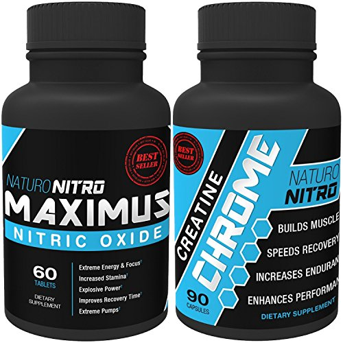 Nitric Oxide Boost Pack - Naturo Nitro Maximus Nitric Oxide Tablets PLUS Cretine Chrome with Magnapower™ Combo Set