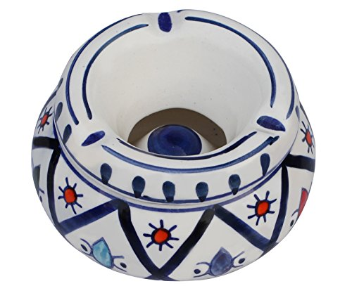 Ceramic Ashtray with Lid - Moroccan Handmade Ash Tray 4.6