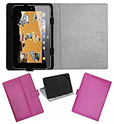 ACM LEATHER FLIP FLAP TABLET HOLDER CARRY CASE STAND COVER FOR HCL ME CHAMP PINK