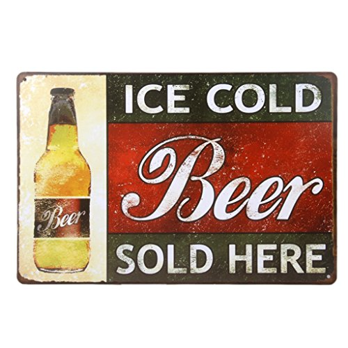 Vintage Poster Metallo ICE COLD BEER Arredo Murale Pub Bar Cafe Casa 20x30cm