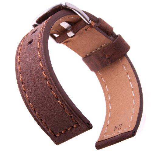 Cinturino Orologio Cuoio Italiano Genuino, Crazy Horse, Marrone con Arancione, 24mm