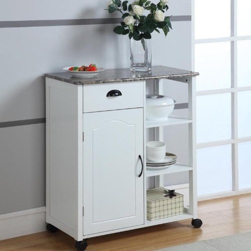 White Kitchen Island Storage Cart On Wheels With Granite
