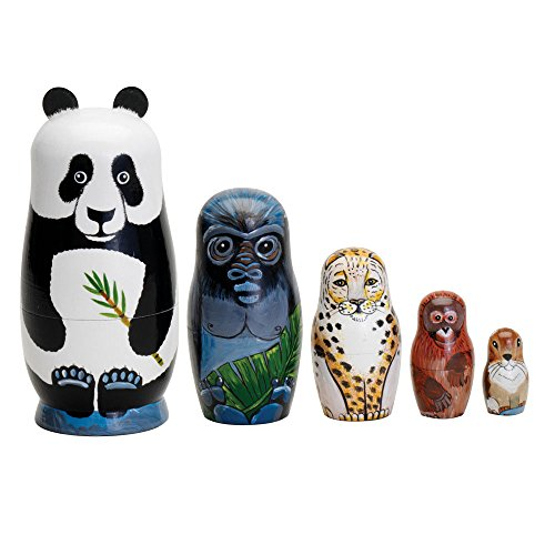 Bits-and-Pieces-Nesting-Endangered-Species-Hand-Painted-Wooden-Nesting-Dolls-Set-of-5-Dolls-From-55-Tall