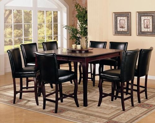 9pc counter height storage dining table w lazy susan chair
