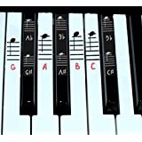 Piano sticker key and Keyboard Music Note Stickers Learning Piano Label Decal for for 49/61/76/88 Keyboards (Pink) (Color: Pink)
