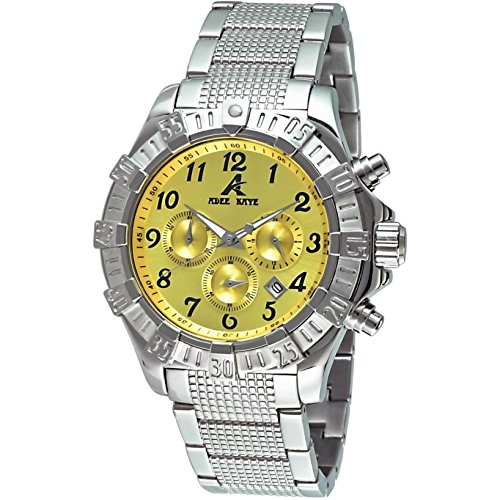 Adee Kaye Mens Chronograph Yellow Dial Stainless Steel Watch AK7140-M/YW