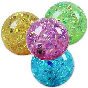 48 x Springball Glitzer Glitzerflummi Flummi Spring Ball