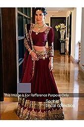 Designer MAROON NET Bollywood Replica Lehenga Choli.