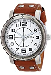 Breda Men's 1658C Silver-Tone Watch with Brown Leather Band