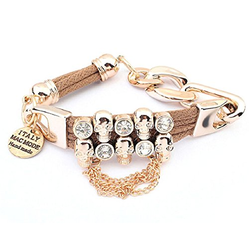 Doinshop New Useful Cute Nice Korean Style Girls Fashion Skull Crystal Bracelet Jewelry (Coffee)