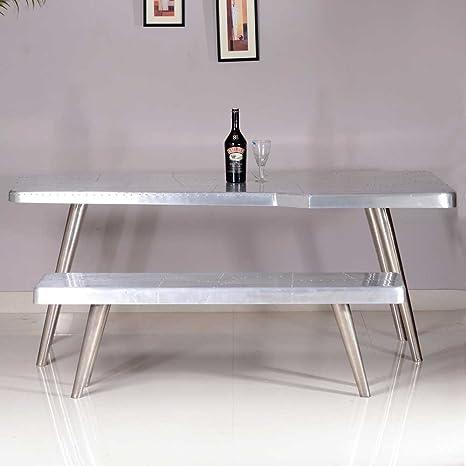 Tisch mit Bank in Silber Alu beschlagen (2-teilig) Pharao24