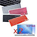 "Premium Keyboard Silicone Cover Skin (Black/Clear/Pink/Red) and 2 packs of Clear Screen Protector for New Aluminum Unibody Macbook Pro 13"" Laptop"