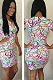 Sexy Ladies Plus Size Rainbow Short Sleeve Bodycon Mini Dress Club Wear Evening Party Special Occasion Size XL 16
