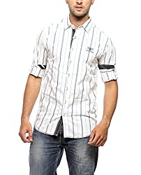 Groove Men Cotton Red Casual Shirt (Large)