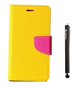 YGS Premium Dairy Wallet Case Cover ForApple iPhone 5 -Yellow Pink and Griffin Stylus Pen