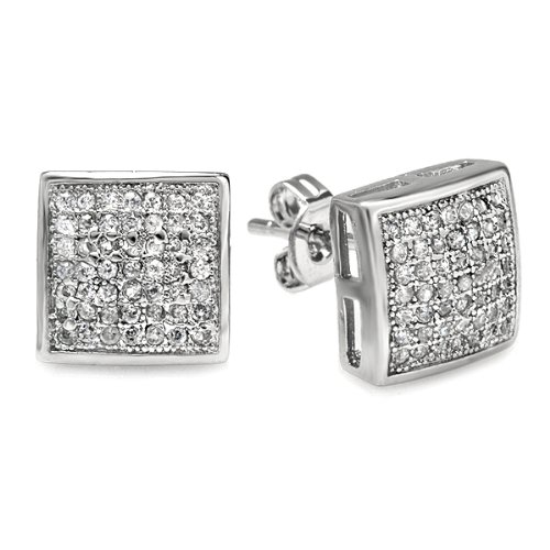 Platinum Plated Clear CZ Cubic Zirconia Kite Shaped Hip Hop Iced Cube Stud Earrings 9.5 mm x 9.5 mm )