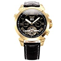 AMPM24 Mens Leather Tourbillion Automatic Mechanical Classic Mens Wrist Watch Golden