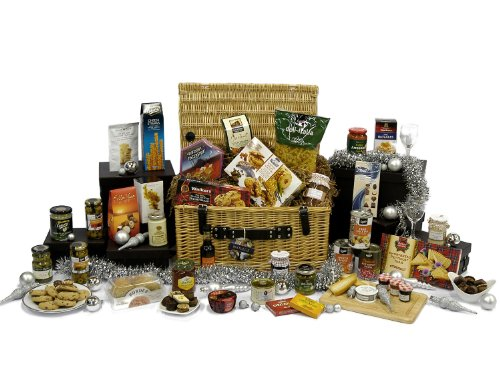 Large Gourmet Food Hamper Gift In Wicker Basket