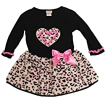 Youngland Girls 4-6X Leopard Faux Fur Heart Bow Dress (4, Pink)