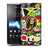 Head Case Designs Rasta Sticker Happy Hard Back Case Cover for Sony Xperia J ST26i
