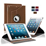 KHOMO Brown Leather Case Cover with Elastic Hand Strap and 360 degree rotating Function for Apple iPad 5 AIR (Built-in magnet for sleep / wake feature)