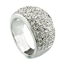 buy Fm42 Silver-Tone Ladies Pave Sparkling 5-Row Clear Crystal 10Mm Wide Band Dome Cocktail Ring R1131 Size 5
