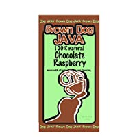 Brown Dog Java's Chocolate Raspberry flavored ground coffee, flavored with 100% natural flavors, 12 oz package