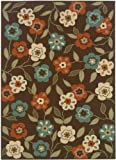 """Summertime All weather Area Outdoor Area Rug, 5'3""""X7'6"""", BROWN"""