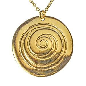 Spiral Gold-dipped Pendant Necklace on Rolo Chain