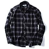 DANIEL DODD 長袖フランネルチェックボタンダウンシャツ オーガニックコットン使用 azsh-160406 大きいサイズ メンズ【990.ブラック-3L】